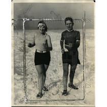 1927 Press Photo Ethel Golyosy & Willie Reinbold in Snow - neo01006