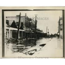 1928 Press Photo Main street in West Palm Beach Florida flooded by hurricane