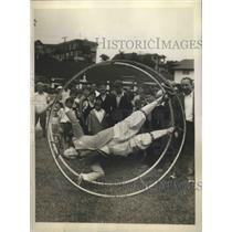 1930 Press Photo Benny Leonard retired Lightweight Champion tries Aero Wheel
