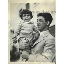 1930 Press Photo Sammy Mandel and his son, Jackie at Winter Rebort - sbs00916