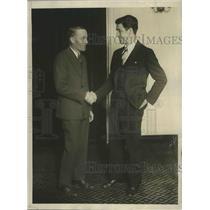 1928 Press Photo Sammy Mandell receiving congratulations from Eddie Kane