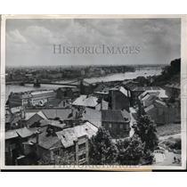 1954 Press Photo Danube River Bridges, Budapest, Hungary - ftx01411