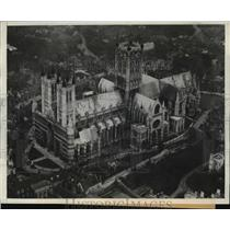 1932 Press Photo Lincoln Cathedral, England Aerial View - ftx01438