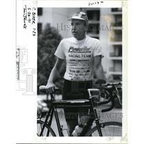 1991 Press Photo Paul Mansdoerfer, Ft Myers Fla. biked cross country to Portland