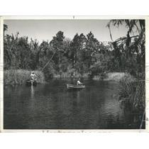1957 Press Photo Fresh Water Fishermen Florida Lake