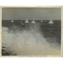 1930 Press Photo International Yacht Races Star Class Rounding Turn - ney26302