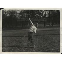 "1929 Press Photo Boxer Emile ""Spider"" Pladner poses outside while training"