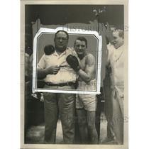 "1929 Press Photo Boxer Emile ""Spider"" Pladner with manager Louis De Ponthieu"