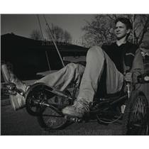 "1987 Press Photo Shawn Bartels Rides ""Skeeter"" Bicycle Through Port Washington"