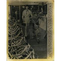 1969 Press Photo Christopher Conrad Tries Out His New Bicycle He & Mom Chose