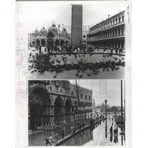 1968 Press Photo St Mark's Square Flooding, Venice, Italy - ftx02330