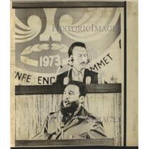 1973 Press Photo Cuban Premier Fidel Castro Addresses Summit Meeting - ftx02378