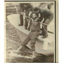 1971 Press Photo Cuban Premier Fidel Castro on Ship near Iquique, Chile