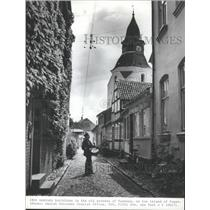 1983 Press Photo 18th Century Buildings on Faaborg, Funen Island Streets Denmark