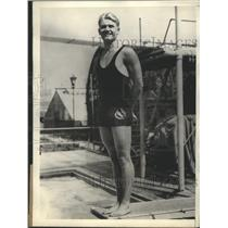 1928 Press Photo Mickey Riley Won Second Honors in Olympic Diving Championships