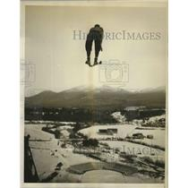 1932 Press Photo Sven Eriksson Taking Off While Practicing at Lake Placide