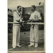 1928 Press Photo Vincent Richards, Karel Kozeluh at US Tennis championships NY