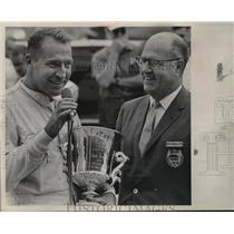 1966 Press Photo Driver Norm Nelson Accepts Trophy from Herbert Velser