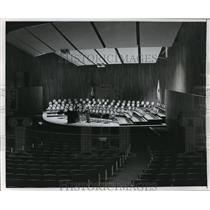 1955 Press Photo Chair Pattern on Auditorium Stage On looked by Two MIT Students