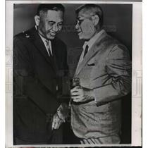 1964 Press Photo Major General Duong Van Minh and Tran Van Huong at Saigon