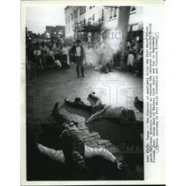 1989 Press Photo Staged gunfight attraction at Pioneer Days at Fort Worth Texas