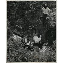 1955 Press Photo Boys Drink from Stream that was Crockett Family Water Source