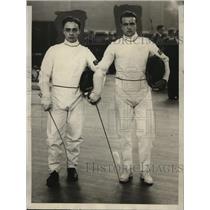 1929 Press Photo Javier Lavero, C.M. Martinez of Cornell University Fencing Team
