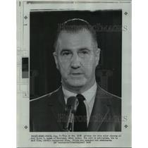 1968 Press Photo Maryland Governor Spiro T. Agnew at microphone - noa12774
