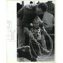 1991 Press Photo Angola Prison Rodeo - Mark Miller and Daughter Jennifer