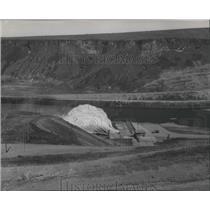 1955 Press Photo Dedication site, Lucky Peak Dam over the Boise River