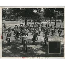 1951 Press Photo Garfield Heights, Ohio Bike Brigade Kids - neo13810