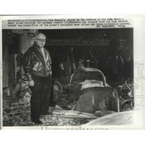 1963 Press Photo John Mannella Stands in Bedroom of Home Where Small Plane Crash
