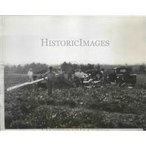 1935 Press Photo Wreckage of 2 Planes that Locked Wings While Both Were Landing