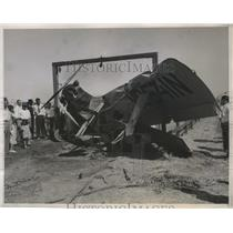 1935 Press Photo Dr. F.E. Townsend in Plane that Crashed Into Fence at Departure