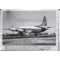 1957 Press Photo Lockheed's Prop-Jet Electra taking off at Lockheed Air Terminal
