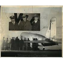 1935 Press Photo New York William Zelcer, D.W. Tomilson, Harold Snead Flight NYC