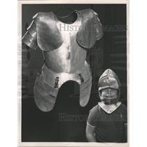 1963 Press Photo Kurt Pope Fitting of Armour