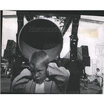 1961 Press Photo Boy next to USAF Martin Mace missile