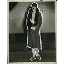 1929 Press Photo New York crepe coat with fur collar by Jenkins in NYC