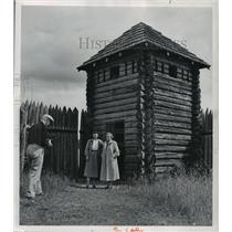 1958 Press Photo People at Fort at Grand Portage, Minnesota, on Lake Superior