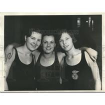 1931 Press Photo AAU swim champs Lisa Lindstrom, Eleanor Holm, Constance Hane