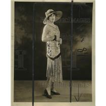 1929 Press Photo Lace Trimmed Women's Dress Fashion - neo24224