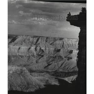 1837 Press Photo Grand Canyon viewed from North Rim point, Purple River Junction