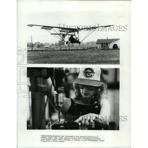 1981 Press Photo John Chotia flying his plane and a worker operates drill press