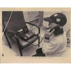 1993 Press Photo Patient talks on Video phone with son - RRV95577