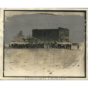 1872 Press Photo Birmingham Volunteer Firemen and firehouse in 1872, Birmingham