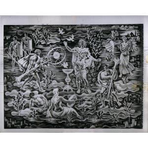 1953 Press Photo Belgian tapestry offered to U.N. - RRU99605