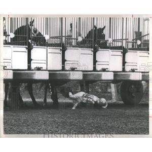 1969 Press Photo Jockey hits the ground at horse race- RSA36729