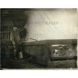 1916 Press Photo A man doing boiling down of soap process