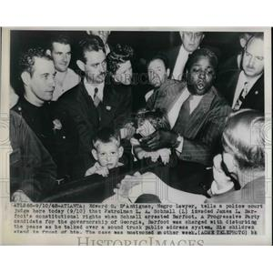 1948 Press Photo Edward D'antignac in Court Cop Invaded Rights of James Barfoot